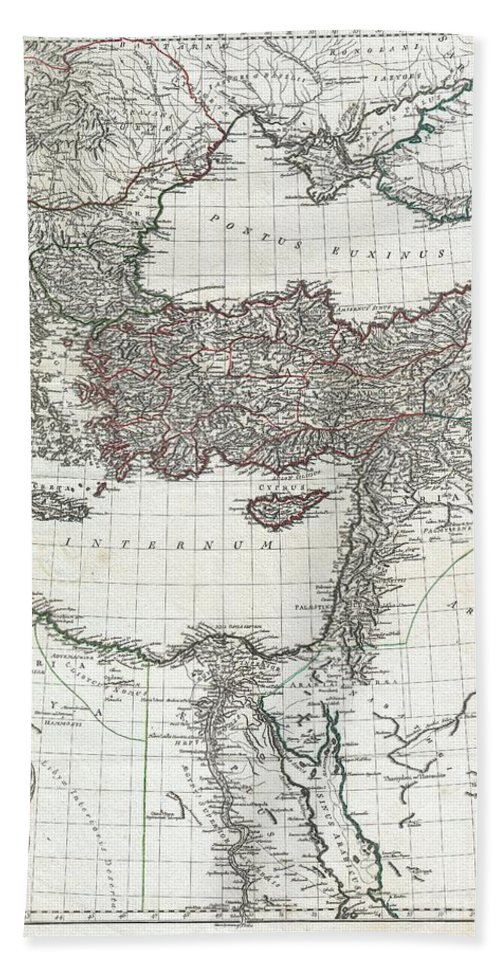 This Is The Stunning Eastern Sheet From Jean Baptiste Bourguignon D'anville's Two Map Set Depicting The Roman Empire. Depicts The Eastern Portion Of The Mediterranean Inclusive Of Greece And Extends Inland As Far As Modern Day Armenia. Contains The Whole Of The Black Sea (pontus Euxinus) And Extends South Well Into The Arabian Desert Beach Towel featuring the photograph 1782 D Anville Map Of The Eastern Roman Empire by Paul Fearn