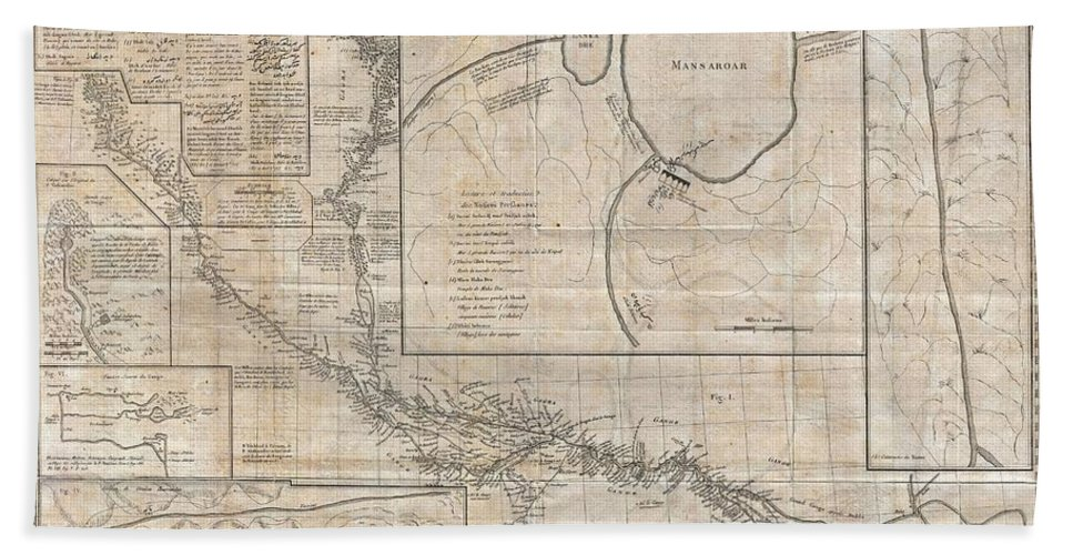 A Rare And Remarkable Discovery This Is Joseph Tiefenthaler And Anquetil-duperron's Important 1784 Map Of The Ganges And Ghaghara (karnali) River System. As A Whole This Map Is A Significant Advancement Over Earlier Mappings Of This Region As Evidenced In The Works Of De L'isle And Others. Presented Here Are Actually Six Maps On A Single Sheet. The Central Map (fig. 1) Beach Towel featuring the photograph 1784 Tiefenthaler Map Of The Ganges And Ghaghara Rivers India by Paul Fearn