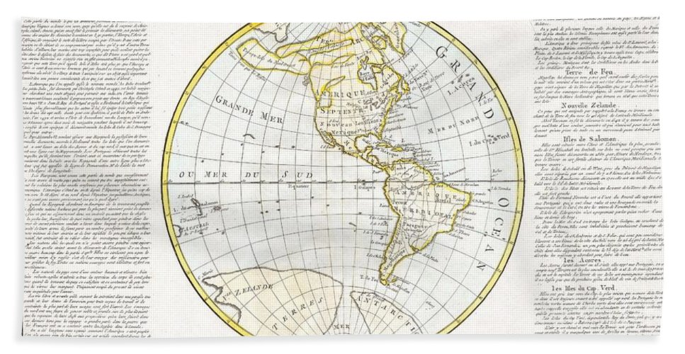 This Is A Beautifully Hand Colored 1785 Map Of North America And South America. The Cartography Of The North America West Coast Is Conjectural At Best Beach Towel featuring the photograph 1785 Clouet Map Of North America And South America by Paul Fearn
