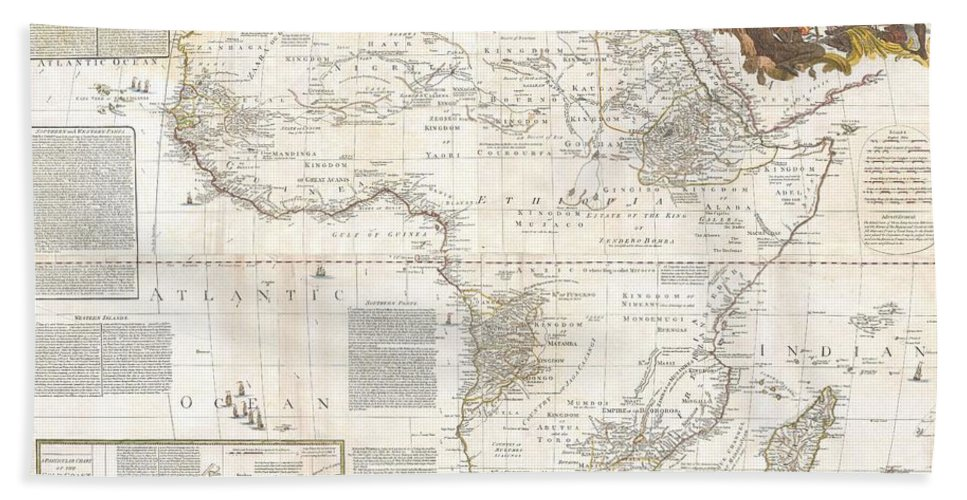 This Is Most Likely The Most Important Map Of Africa Produced In The 18th Century. Printed At The Height Of The Slave Trade In 1787 By The Robert Sayer Firm Of London Beach Towel featuring the photograph 1787 Boulton Sayer Wall Map Of Africa by Paul Fearn