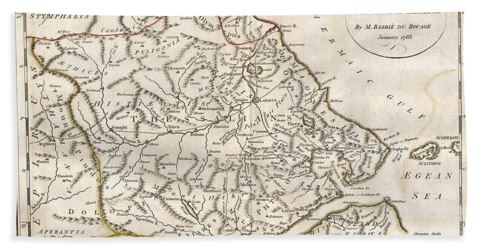 This Lovely Little Map Of Thessaly Beach Towel featuring the photograph 1788 Bocage Map Of Thessaly In Ancient Greece by Paul Fearn