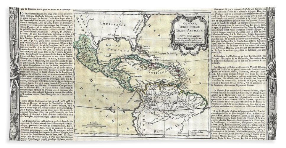 A Stunning Decorative 1766 Map Of Mexico Beach Towel featuring the photograph 1788 Brion De La Tour Map Of Mexico Central America And The West Indies by Paul Fearn