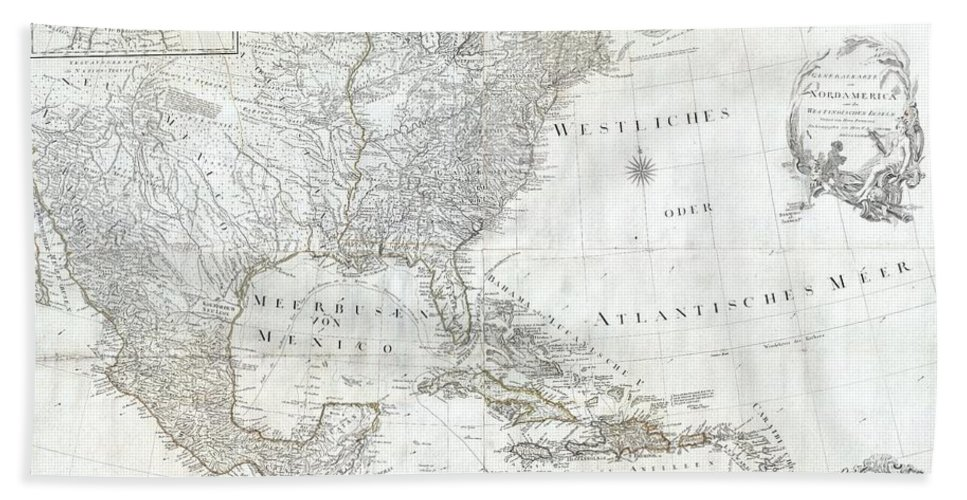 A Rare And Extraordinary Post-colonial Wall Map Of North America By Vienna Map Publisher Franz Anton Schraembal. Printed In 1788 For Inclusion In Schraembal's Allgemeiner Grosser Atlas Beach Towel featuring the photograph 1788 Schraembl Pownall Map Of North America And The West Indies by Paul Fearn