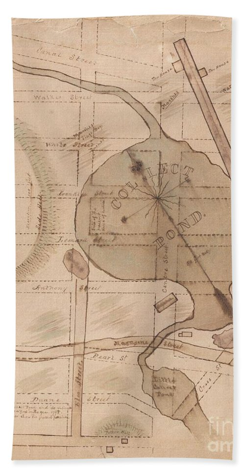 This Is A One Of A Kind Early 19th Century Manuscript Map Of The New York City's Collect Pond Or Five Points Region. Cover's Parts Of Southern Manhattan Between Broadway And Cross Street Beach Towel featuring the photograph 1840 Manuscript Map Of The Collect Pond And Five Points New York City by Paul Fearn