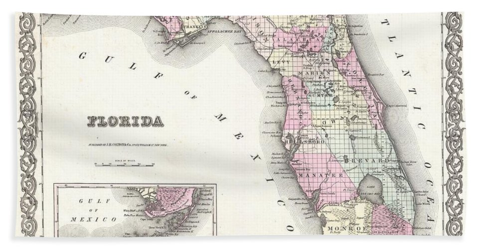 Beach Towel featuring the photograph 1855 Colton Map Of Florida by Paul Fearn
