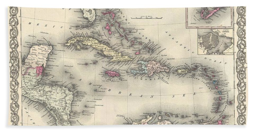 Beach Towel featuring the photograph 1855 Colton Map Of The West Indies by Paul Fearn