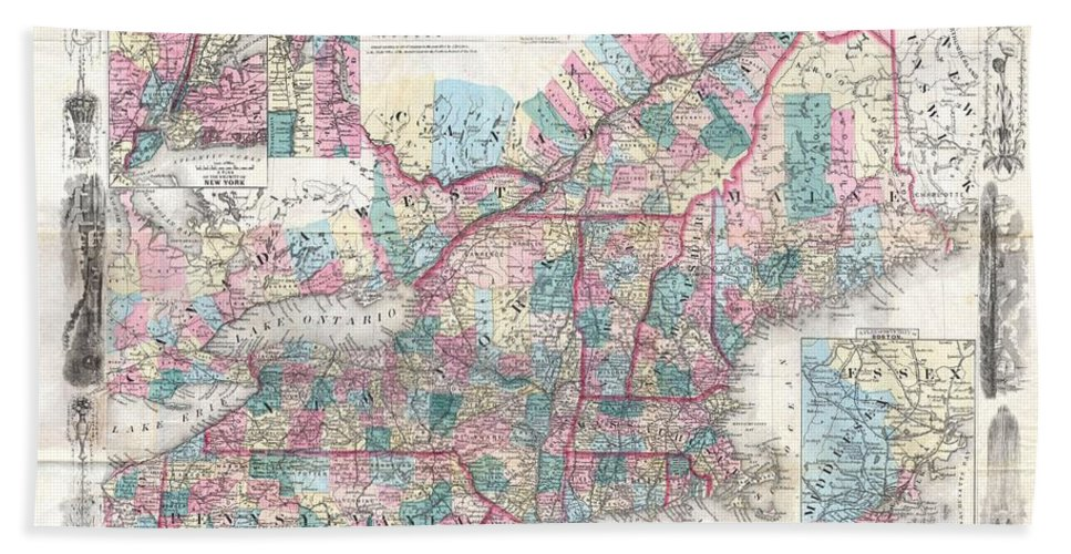 Beach Towel featuring the photograph 1856 Colton Pocket Map Of New England And New York by Paul Fearn