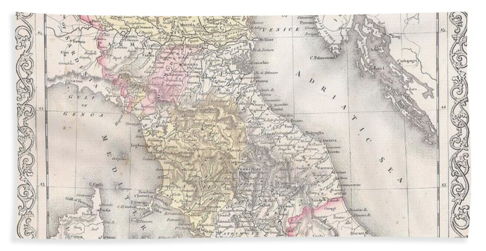 Beach Towel featuring the photograph 1856 Desilver Map Of Northern Italy by Paul Fearn