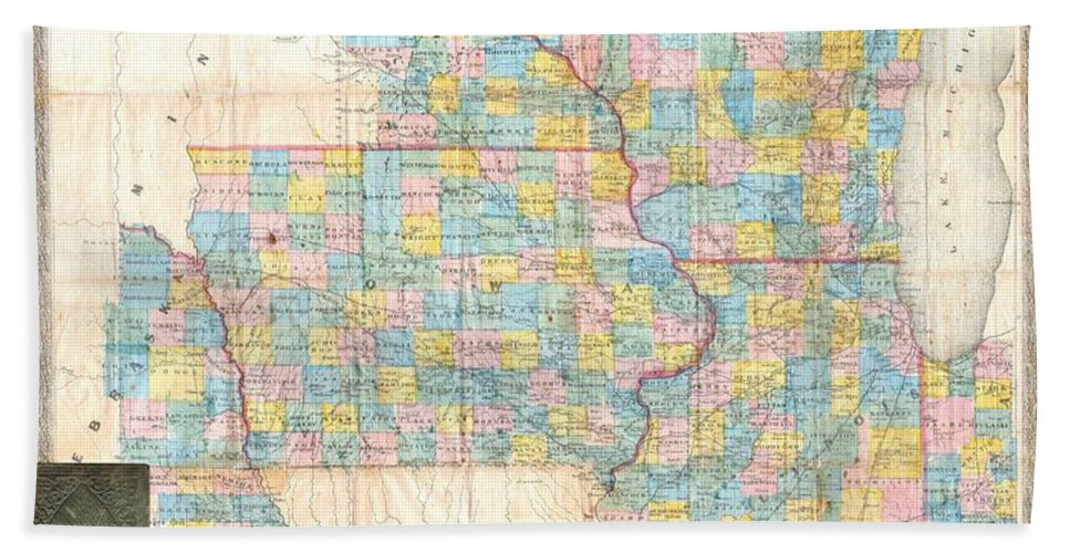 Beach Towel featuring the photograph 1857 Chapman Pocket Map Of The North West Illinois Wisconsin Iowa by Paul Fearn