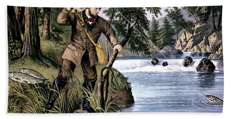 Horizontal Beach Towel featuring the painting 1870s Brook Trout Fishing - Currier & by Vintage Images