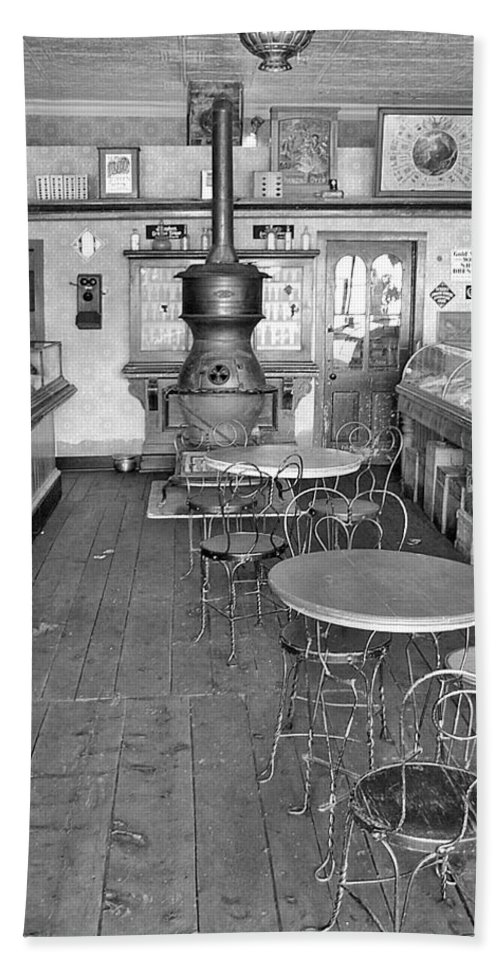 Vintage Drug Store Pictures Beach Towel featuring the photograph 1880 Drug Store Black And White by Ken Smith
