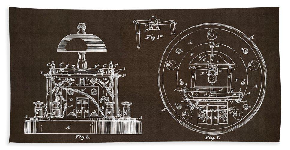 Alexander Graham Bell Beach Towel featuring the digital art 1881 Alexander Graham Bell Electric Call Bell Patent Espresso by Nikki Marie Smith