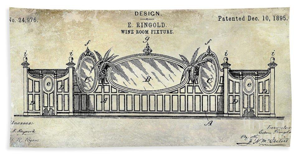 Corkscrew Patent Drawing Beach Towel featuring the photograph 1895 Wine Room Fixture Design Patent by Jon Neidert