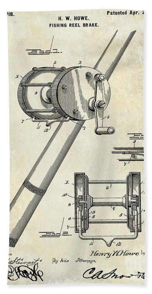 1899 Fishing Reel Brake Patent Drawing Beach Sheet For Sale By Jon