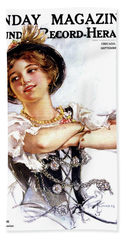 Vertical Beach Towel featuring the painting 1900s 1913 Smiling German Girl Wearing by Vintage Images