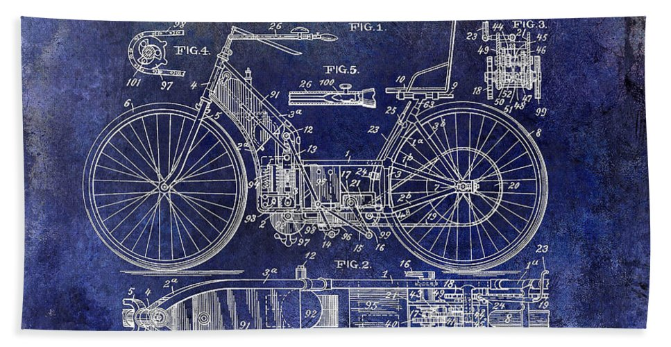 Motorcycle Patent Beach Towel featuring the photograph 1901 Motorcycle Patent Drawing Blue by Jon Neidert