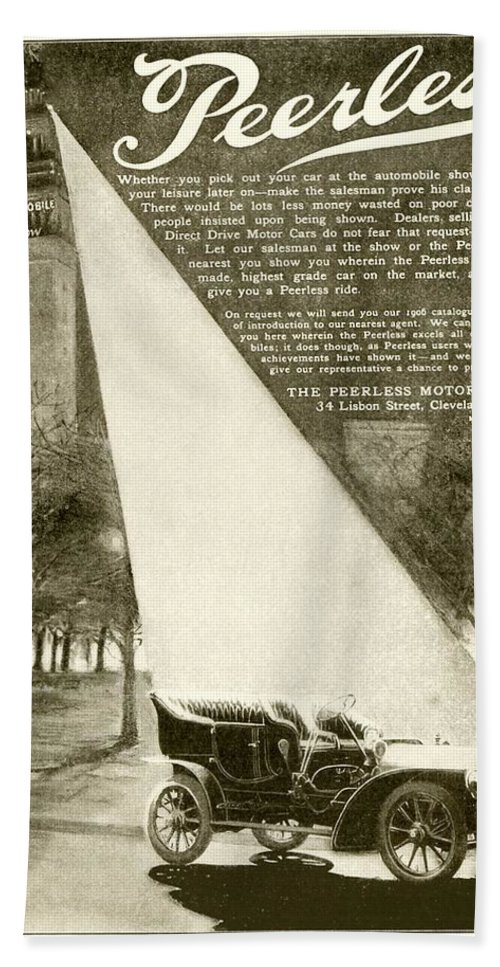 1906 Beach Towel featuring the digital art 1906 - Peerless Automobile Advertisement by John Madison