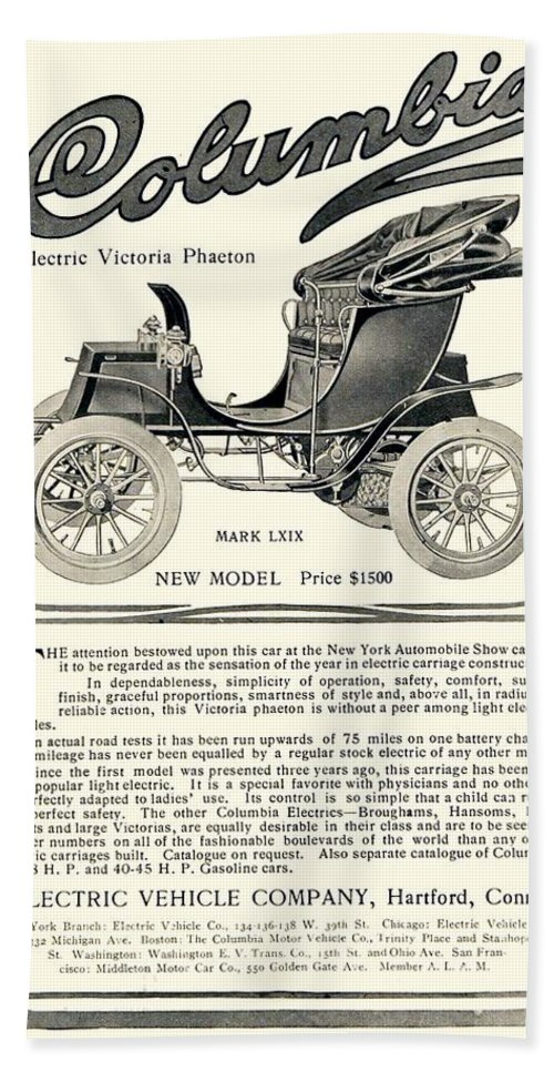 1907 Beach Towel featuring the digital art 1907 - Columbia Victoria Phaeton Electric Automobile Advertisement by John Madison