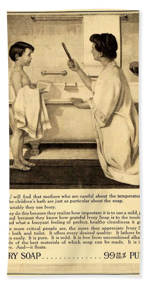 1913 Beach Towel featuring the digital art 1913 - Proctor And Gamble - Ivory Soap Advertisement by John Madison