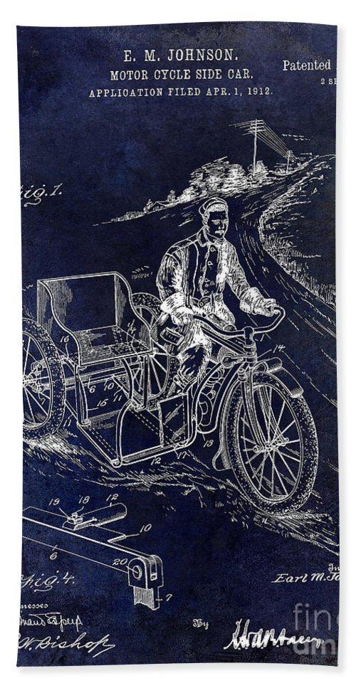 Motorcycle Patent Beach Towel featuring the photograph 1913 Motorcycle Side Car Patent Blue by Jon Neidert
