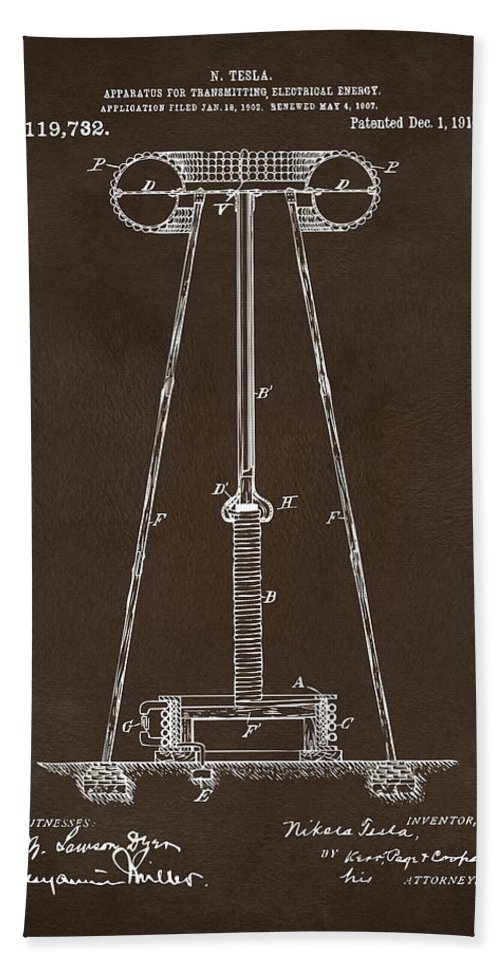 Tesla Beach Towel featuring the digital art 1914 Tesla Transmitter Patent Artwork Espresso by Nikki Marie Smith