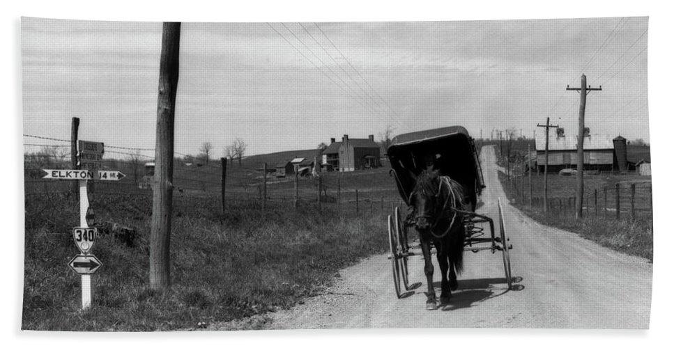 Photography Beach Towel featuring the photograph 1920s 1930s Amish Man Driving Buggy by Vintage Images