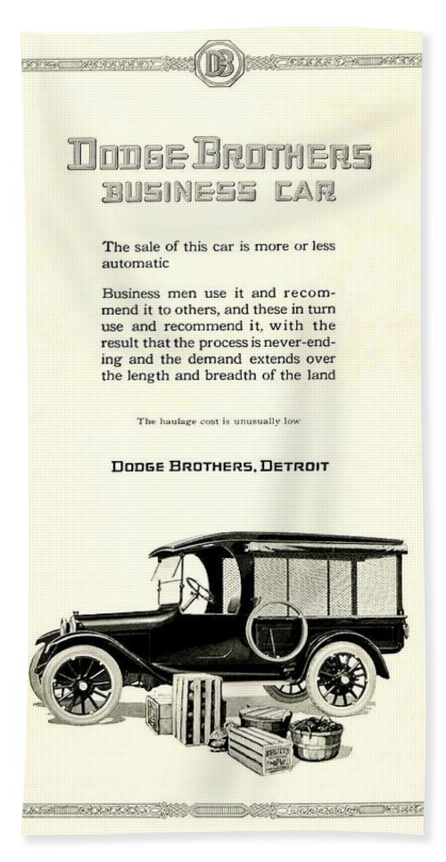 1928 Beach Towel featuring the digital art 1921 - Dodge Brothers Business Car Truck Advertisement by John Madison