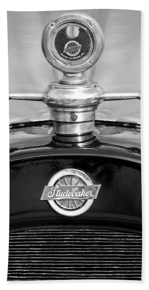 1922 Studebaker Touring Beach Towel featuring the photograph 1922 Studebaker Touring Hood Ornament 3 by Jill Reger