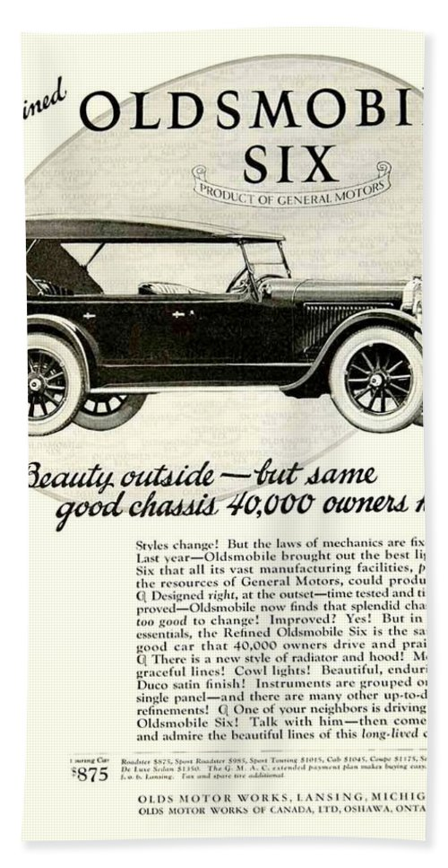 1924 Beach Towel featuring the digital art 1924 - Oldsmobile Six Automobile Advertisement by John Madison