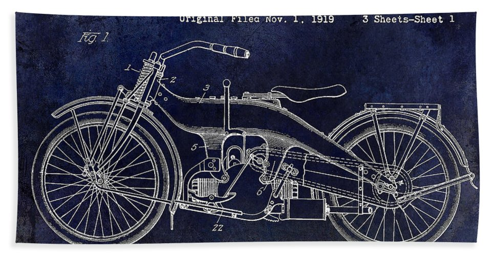 Harley Davidson Patent Drawing Beach Towel featuring the photograph 1924 Harley Davidson Motorcycle Patent by Jon Neidert