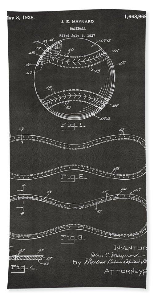 Baseball Beach Towel featuring the digital art 1928 Baseball Patent Artwork - Gray by Nikki Marie Smith