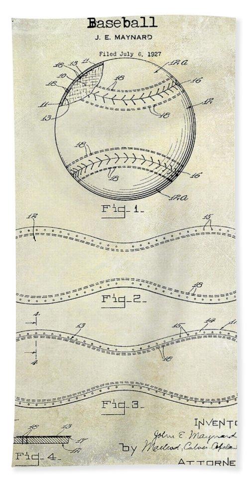 Baseball Patent Beach Sheet featuring the photograph 1928 Baseball Patent Drawing by Jon Neidert