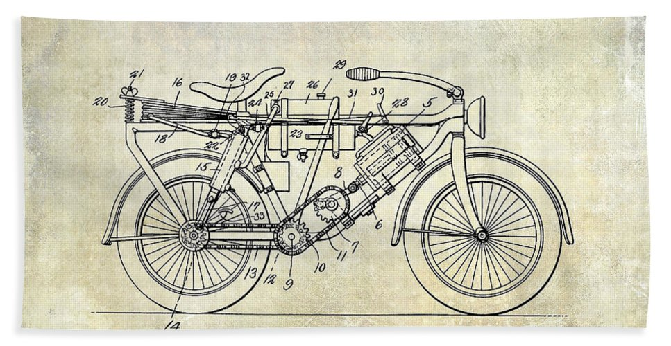 Harley Davidson Patent Drawing Beach Towel featuring the photograph 1928 Motorcycle Patent Drawing by Jon Neidert