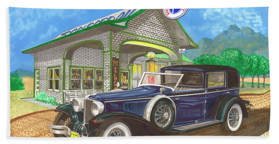 Framed Prints Of Classic Cord Town Cars. Framed Canvas Prints Of 1930 Auburn-cord Classic American Cars. Framed Prints Of Classic American Cars Of The 1930's. Classic Transportation Art Beach Towel featuring the painting 1930 Cord L Towncar by Jack Pumphrey