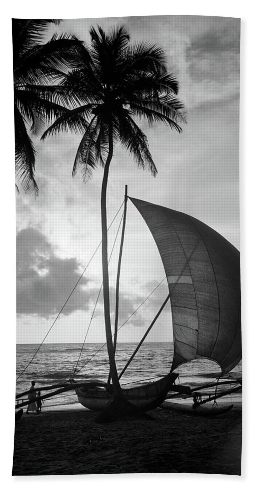 Photography Beach Towel featuring the photograph 1930s Single Catamaran On Tropical by Vintage Images