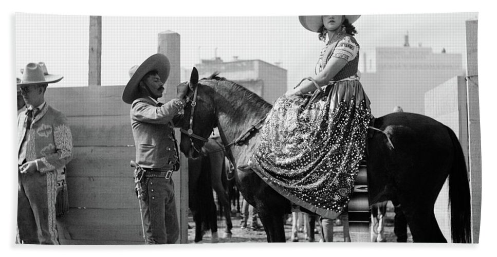 Photography Beach Towel featuring the photograph 1930s Woman Sitting On Horse Wearing by Vintage Images