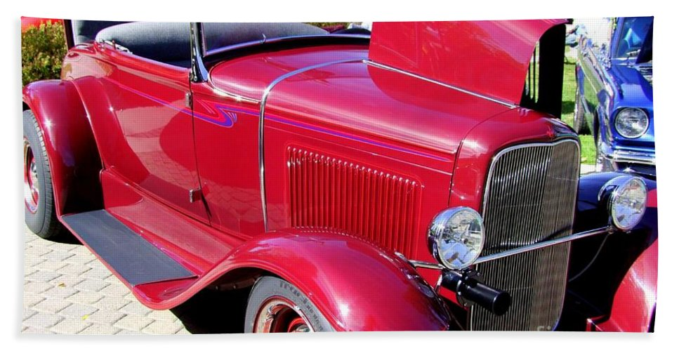 Red Cars Beach Towel featuring the photograph 1931 Ford With Rumble Seat by Mary Deal