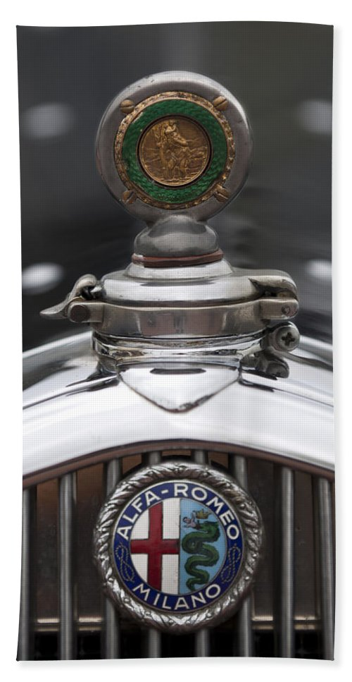 1932 Alfa-romeo Beach Towel featuring the photograph 1932 Alfa-romeo Hood Ornament 2 by Jill Reger