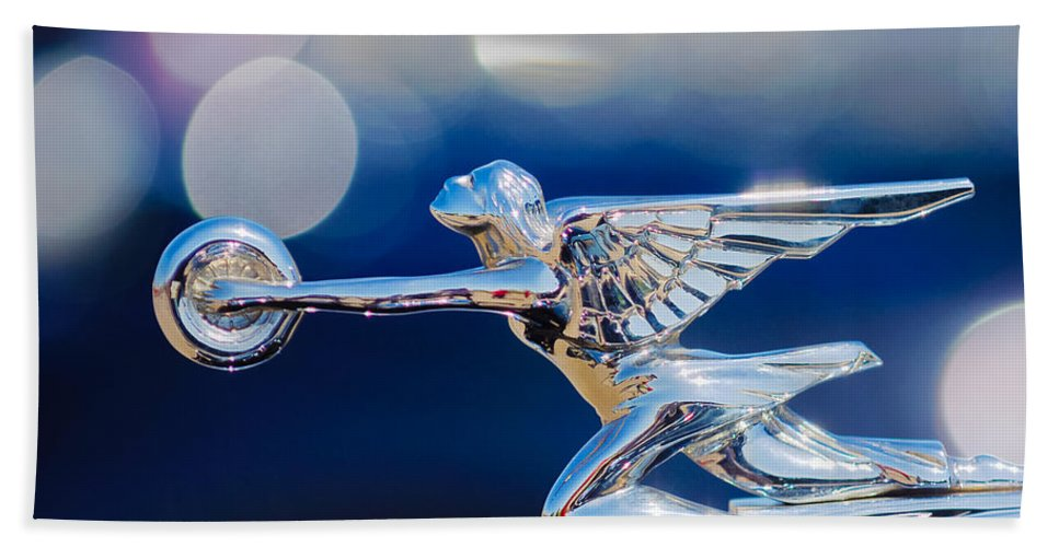 1932 Packard 12 Convertible Victoriahood Ornament Beach Towel featuring the photograph 1932 Packard 12 Convertible Victoria Hood Ornament -0251c by Jill Reger