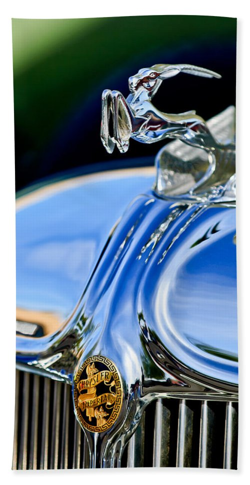 1933 Chrysler Imperial Beach Towel featuring the photograph 1933 Chrysler Imperial Hood Ornament 3 by Jill Reger