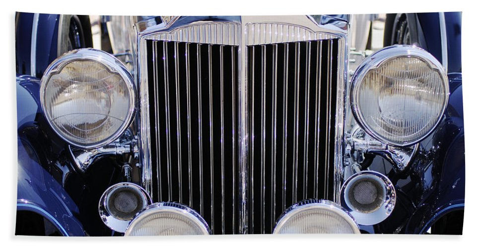 1933 Packard 12 Convertible Coupe Grille Beach Towel featuring the photograph 1933 Packard 12 Convertible Coupe Grille by Jill Reger