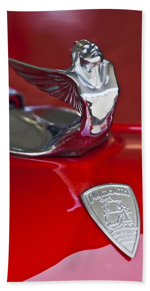 1933 Plymouth Custom Coupe Beach Towel featuring the photograph 1933 Plymouth Hood Ornament by Jill Reger