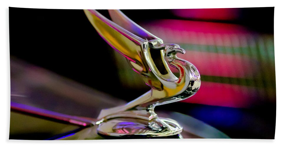 1935 Chevy Hood Ornament Beach Towel featuring the photograph 1935 Chevrolet Hood Ornament 2 by Jill Reger