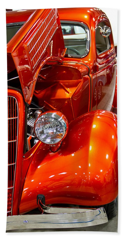 Vertical Beach Towel featuring the photograph 1935 Orange Ford-front View by Eti Reid