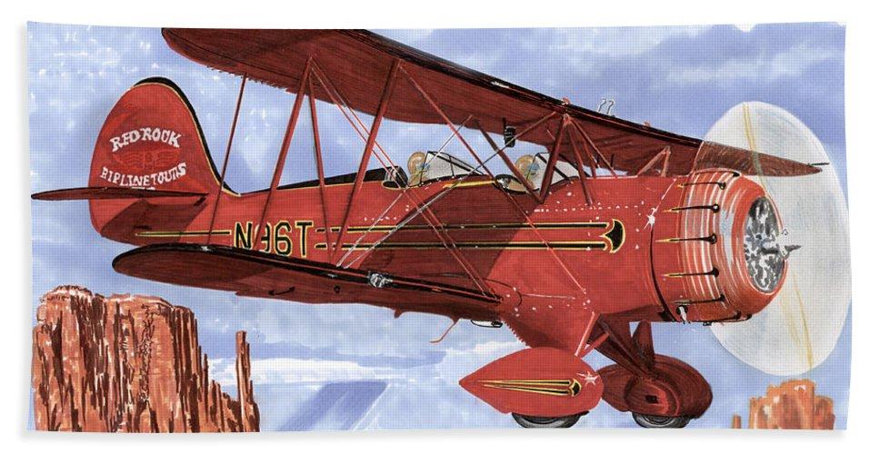 1935 Waco Bi-plane. Framed Prints Of Bi-wing Aircraft. Post Cards Of Old Airplanes. Framed Prints Of Utah Beach Towel featuring the painting Monument Valley Bi-plane by Jack Pumphrey