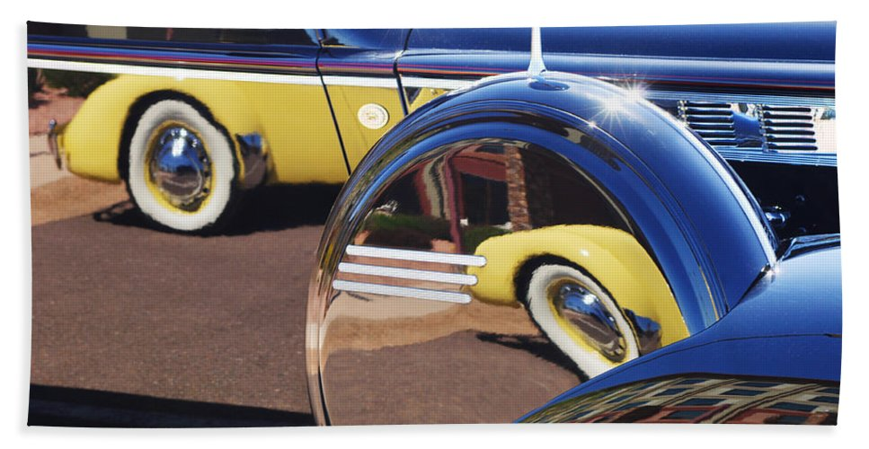 1937 Cord 812 Phaeton Reflected Into Packard Beach Towel featuring the photograph 1937 Cord 812 Phaeton Reflected Into Packard by Jill Reger