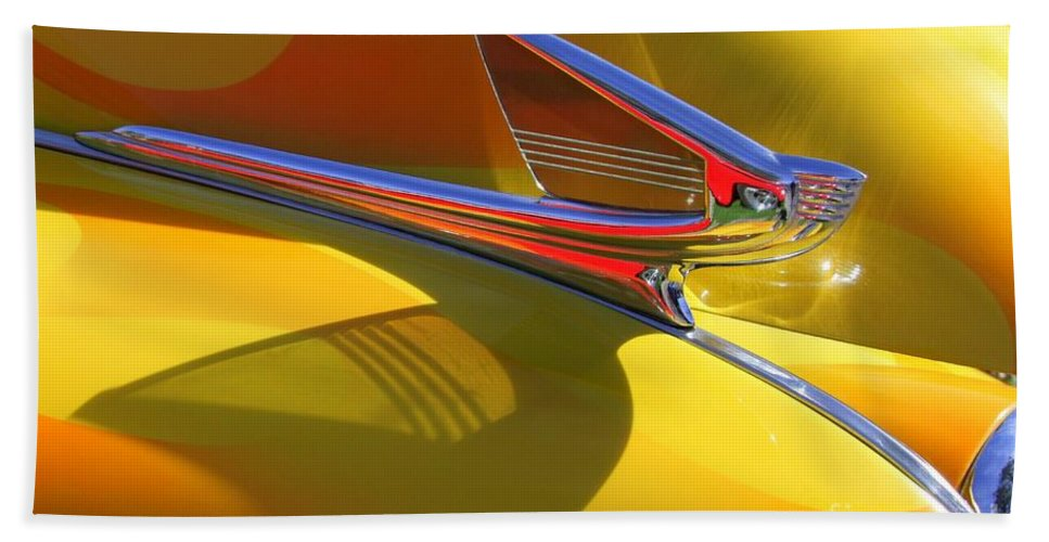 Old Cars Beach Towel featuring the photograph 1939 Chevy Hood Ornament by Mary Deal