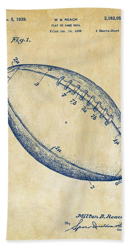 Fotball Beach Towel featuring the digital art 1939 Football Patent Artwork - Vintage by Nikki Marie Smith