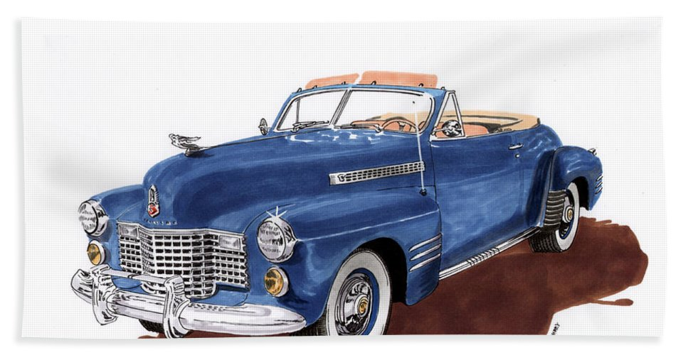 Classic Car Paintings Beach Towel featuring the painting 1941 Cadillac Series 62 Convertible by Jack Pumphrey