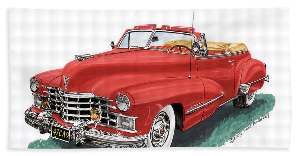 Framed Prints Of Vintage 1947 Cadillac Convertibles Beach Towel featuring the painting Cadillac Series 62 Convertible by Jack Pumphrey